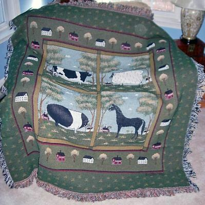 Warren Kimble Farm Animals ~ Cow Pig Horse Sheep ~ Tapestry Afghan Throw