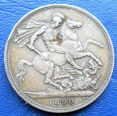 .925 Silver 1890 Great Britain Crown Victoria St George Dragon Nice Toned # 734