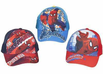 Boys Official Marvel Spider-Man Character Baseball Caps Hats Blue Red Spiderman
