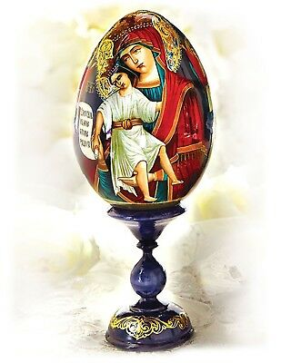 Madonna and Child Christ Hand Painted Russian Wooden Icon Egg Stand Holder 7 1/2