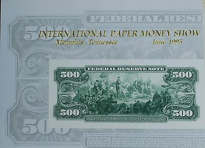 1993 BEP Souvenir Card Reverse of 1914 Federal Reserve 500 Dollar Note
