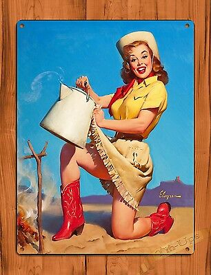 "TIN-UPS TIN SIGN ""Elvgren Pin Up Cowgirl"" Oil Garage Vintage Wall Decor"