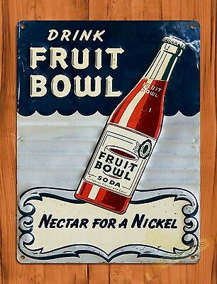 "TIN-UPS TIN SIGN ""Fruit Bowl Soda"" Oil Garage Vintage Wall Decor"