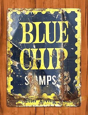 "TIN-UPS TIN SIGN ""Blue Chip Stamps"" Ration Oil Garage Vintage Wall Decor"