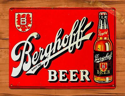 "TIN SIGN ""Berghoff Beer"" Oil Garage Vintage Wall Decor"