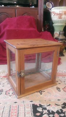 Vintage 1900-1920's wood and Glass Country Store Cabinet Display Case W/ Shelf