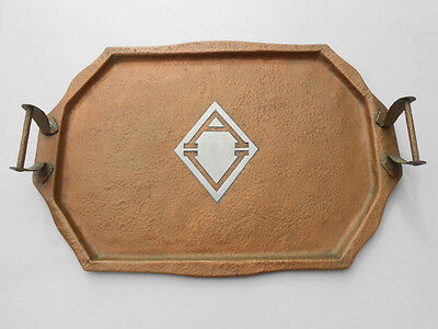 """Old Antique Hammered Copper Silver Arts & Crafts Style Lg Hdld Serving Tray 20"""""""
