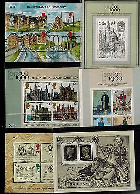 1978-1990 First 6 miniature sheets  MS1058 MS1099 MS1119 MS1409 MS1444 MS1501