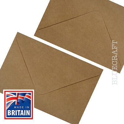 25 x C6 Brown Ribbed Kraft 100gsm Envelopes 114 x 162mm  4.48 x 6.37 inches