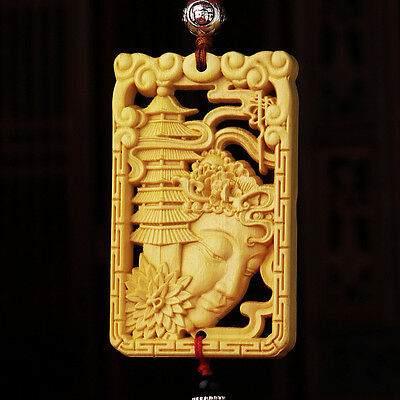 Hollow Out Wood Carved Chinese Kwan Yin Buddhist Pagoda Double Sides Car Pendant
