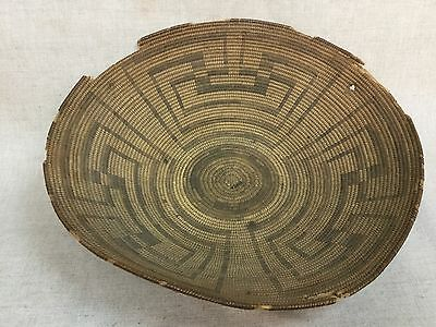 "Very Large Antique Pima Indian Basket whirling logs 17-1/2"" diameter (as-is)"