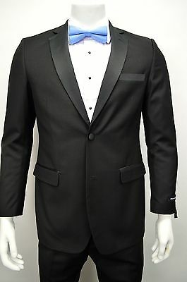 Men's Black Slim Fit Formal Tuxedo Suit w/ Sateen Lapel NEW Wedding Prom