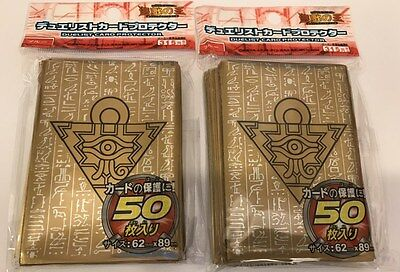 (100) YU-GI-OH Card Protectors Millenium Puzzle Card Sleeves Gold 63x90mm