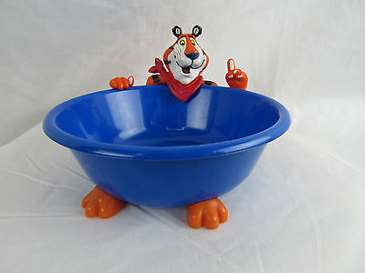 2000 Tony Tiger Cereal Bowl Blue with Tony figure attached
