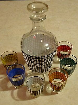 Vintage Decanter Cordial Set France Mid Cent Houndstooth Barware 6 Glasses WOW