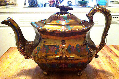 Antique Copper Lustre Ware Tea Pot Hand Painted Serpent or dragon handle