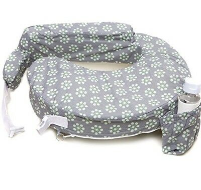 My Brest Friend Nursing Pillow Sage Dotted Daisies, Gray, Green