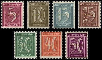 EBS Germany 1921 Numeral in Rectangle Definitives Michel 158-164 MNH**