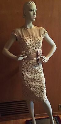 1950's Vintage Carlye Ivory and Beige Silk Lace Dress Size 4