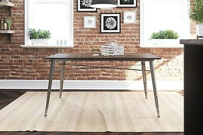 Industrial Dining Table Vintage Antique Gun Metal and Wood Top Country Kitchen