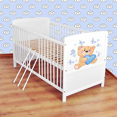NEW WHITE 2in1 COT-BED 120x60 no 33 - RRP 129,00 GBP - FOAM MATTRESS FOR FREE