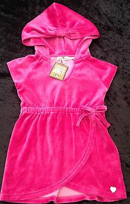 NWT Juicy Couture New Pink Velour Hoodied Short Beach Sun Dress Girls Age 6