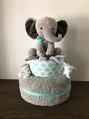 Baby Boy Teal Elephant Diaper Cake For Shower Gift