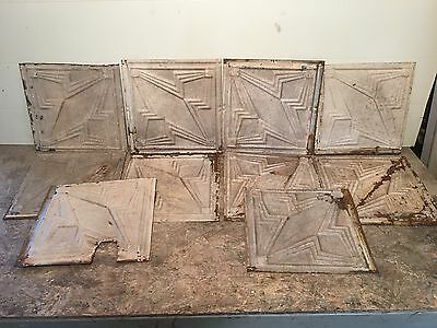 "Lot of 10 pc - 12"" x 12"" Antique Ceiling Tin Tile Vintage Reclaimed Salvage Art"