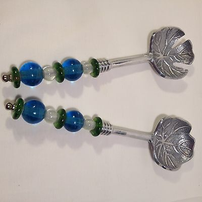 Salad Tossing Utensils Metal Beaded Handles