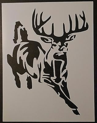 """Buck White-Tailed Deer Hunting 8.5"""" x 11"""" Custom Stencil FAST FREE SHIPPING"""