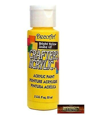 M01419 MOREZMORE DecoArt BRIGHT YELLOW Crafter's Acrylic All Purpose Paint A60