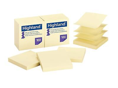 Highland Yellow Self Stick 3 X 3 Pop Up Notes 100 Sheets 12 Pads = 1200