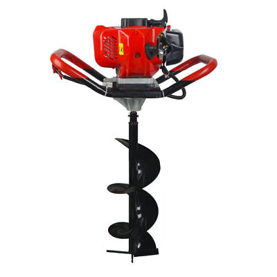 """2.2HP Gas Powered 52cc Post Hole Digger Type 4""""/ 8""""/10"""" Earth Auger Ground Drill"""