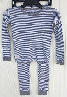 Burts Bees Boy Girl Organic PJs Pajamas 2 Piece Blue White Striped Size 7