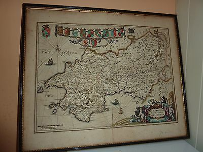 17Thc Jan Jansson Colourmap Of Pembrokeshire/carmartheshire With Crested Shields
