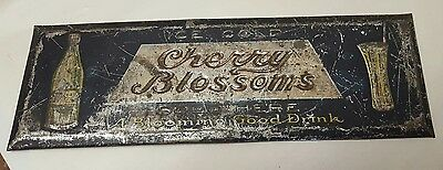 Rare Cherry Blossoms Soda Sold Here Embossed Tin Sign Fountain