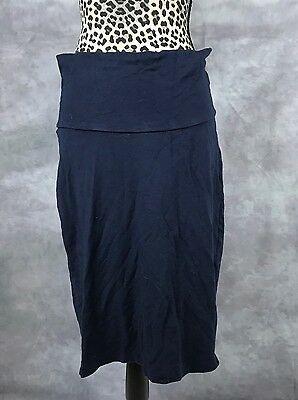 A Pea In The Pod Navy Soft Jersey Maternity Skirt Sz L Stretchy Knee Length