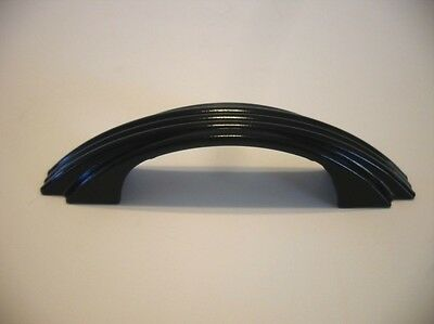 Vintage BLACK Steel Drawer Pull Ribbed Face Cabinet Door Handle Art Deco Amerock