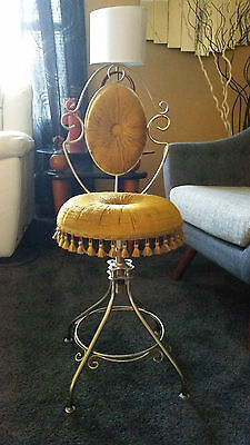 Vintage Mid Century Vanity Bench/Stool/Chair Gold Ormolu In Great Shape
