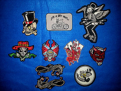 Biker Patches Lot of 10 Skull & Devil Patches