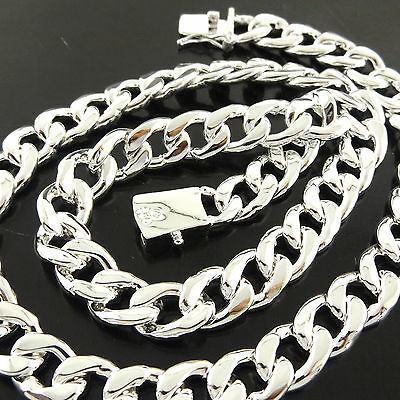 A824 Genuine Real 925 Sterling Silver S/f Solid Mens Curb Cuban Necklace Chain