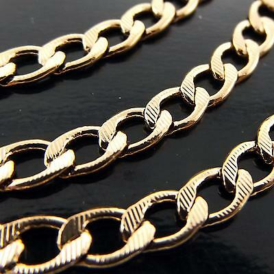 A053 Genuine Real 18K Rose G/f Gold Solid Unisex Curb Cuban Men's Necklace Chain