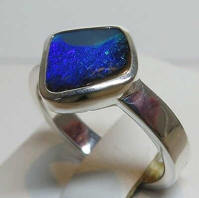 Queensland Boulder Opal Hand Made bright Silver Ring