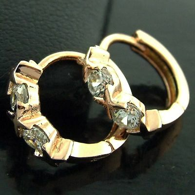 An557 Genuine Real 18K Rose G/f Gold Diamond Simulated Kids Girls Hoop Earrings