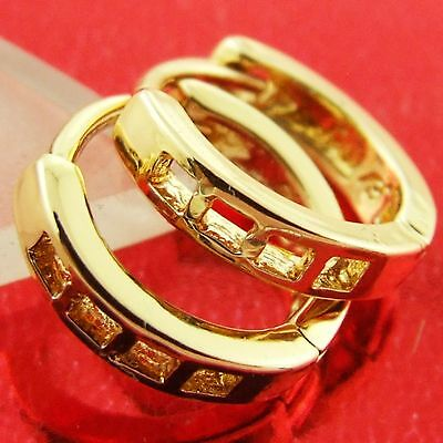 An568 Genuine Real 18K Yellow G/f Gold Kids Girls Baby Size Huggie Hoop Earrings