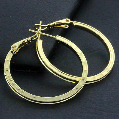 An643 Genuine Real 18K Yellow G/f Gold Ladies Italian Design Stud Hoop Earrings