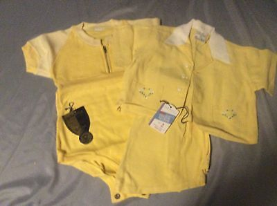 VINTAGE BABY BOY YELLOW1 PIECE OUTFIT & 2 PIECE OUTFIT 18 MONTHS 2T pr