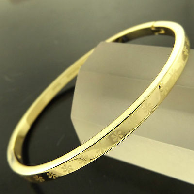 A255 Genuine Real 18K Yellow G/f Gold Solid Ladies Hinged Cuff Bangle Bracelet
