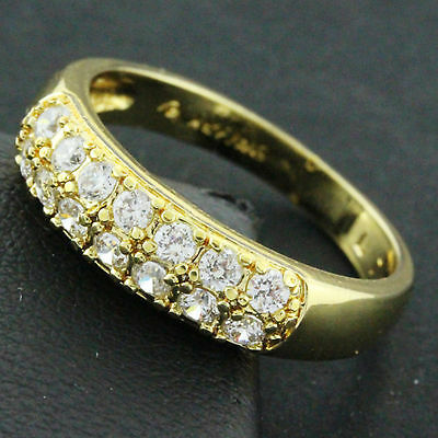 618 Genuine Real 18K Yellow G/f Gold Diamond Simulated Ladies Eternity Band Ring