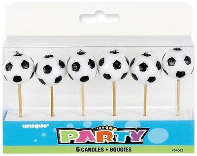 Soccer Ball Pick Candles Pack Of 6 Birthday Party Supplies